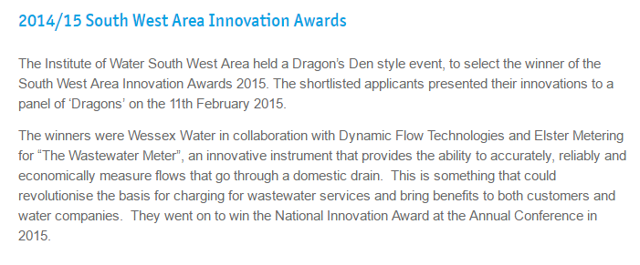 2014/15 South West Area Innovation Awards - The Wastewater Meter